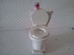 dolls house toilet in white and gold dolls by SmallthingsbyAmanda, £4.55