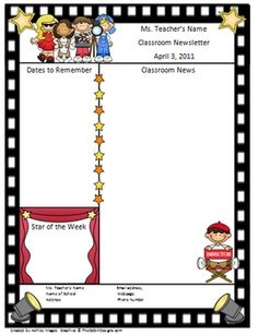 This is a two page Hollywood template for a classroom newsletter. The file is to be opened in Microsoft Word. Click inside the text boxes to add yo...