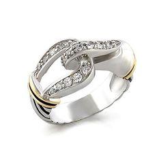 Belt Lock Design Unique Silver Ring with Round Zirconia Stones, VORI03-01958