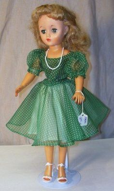 "Image detail for -VINTAGE IDEAL 18"" ""MISS REVLON"" DOLL ca. 1950's GREEN DRESS-GREEN ..."