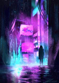 Neon Rain Art Print by zandraart Cyberpunk City, Cyberpunk Kunst, Cyberpunk Aesthetic, Futuristic City, Neon Aesthetic, Cyberpunk 2077, Neon Noir, Rain Art, Neon Wallpaper