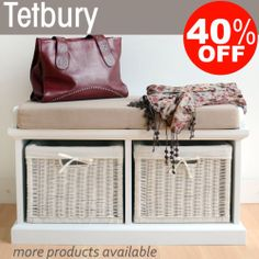 Tetbury Hallway Bench with storage baskets, Storage Bench with wicker baskets
