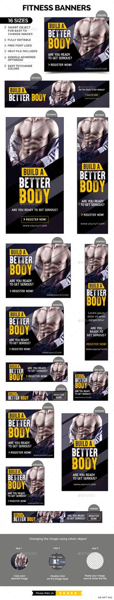 Buy Fitness Banners by doto on GraphicRiver. Promote your Products and services with this great looking Banner Set. 16 awesome quality banner template PSD files r. Web Design, Web Banner Design, Graphic Design, Web Banners, Banner Design Inspiration, Design Ideas, Style Inspiration, Fitness Flyer, Workout Posters