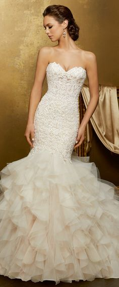 Exquisite Tulle & Organza Sweetheart Neckline Mermaid Wedding Dress With Beaded Lace Appliques & Ruffles