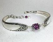 Spoon Bracelet, Amethyst Crystals, 'English Garden' 1949, Silverware Jewelry