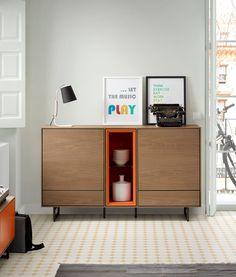 Bufet de dos puertas y dos cajones. Simple Furniture, Plywood Furniture, Furniture Projects, Online Furniture, Vintage Furniture, Diy Furniture, Modern Furniture, Furniture Design, Interior Architecture
