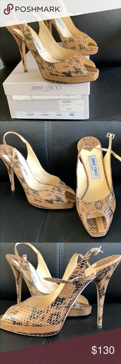 d684eed209852e Shop Women s Jimmy Choo Tan Black size 10 Heels at a discounted price at  Poshmark. Size 40 GENTLY used with box.