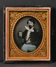 Sixth Plate Daguerreotype Portrait of a Seated Union Officer