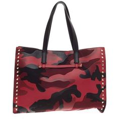 Preowned Valentino Rockstud Open Tote Camo Leather And Canvas Medium (€1.085) ❤ liked on Polyvore featuring bags, handbags, tote bags, multiple, camo tote bag, leather purse, leather tote, genuine leather tote and canvas tote bag