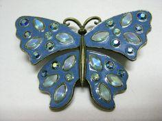 Rhinestone Butterfly Pin   Butterfly Blue Bronze Brooch Rhinestone Aurora