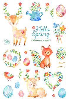 This animals and floral clipart set is just what you needed for the perfect invitations, craft projects, paper products, party decorations,