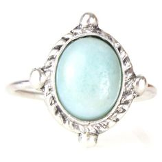 Amelia May Large Sterling Silver Pastel Amazonite Ring (€25) ❤ liked on Polyvore featuring jewelry, rings, sterling silver rings, mint green jewelry, sterling silver jewelry, mint jewelry and pastel jewelry