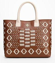 Claire Stitched Leather Tote..Tory Burch
