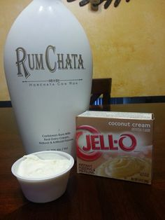 Rumchata Colada Pudding Shots 1 small box coconut cream pudding 3/4 C milk 3/4 C Rumchata 1 8 oz tub Cool Whip Directions 1. Whisk together the milk, liquor, and instant pudding mix in a bowl until combined. 2. Add frozen cool whip a little at a time with whisk.  3. Spoon the pudding mixture into shot glasses, disposable 'party shot' cups or 2 ounce cups with lids available at GFS 4. Place in freezer for at least 2 hours.