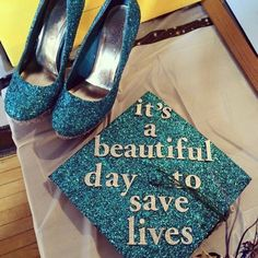 Grey's Anatomy Themed Graduation Cap And Matching Shoes.
