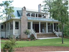 This house is perfect to me. House Plans - Home Plan Details : Low Country Living Transitional Fireplaces, Transitional Living Rooms, Transitional House, Transitional Lighting, Southern House Plans, Country Style House Plans, Low Country Homes, Country Living, Country Porches