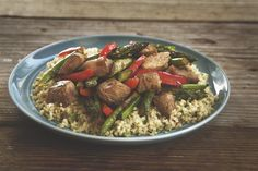 Asparagus, Red Pepper and Pork Stir-Fry over Quinoa