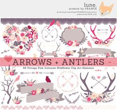 Vintage Pink Wildflower Clipart Arrows + Antlers by FRANCEillustration, $6.00