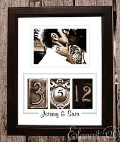 I like this idea for a wedding picture along with the date you were married :) or an engagement, etc..