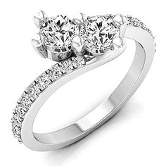 1.00 Carat (ctw) 14K Gold Round White Diamond Ladies Two Stone Bypass Style Bridal Engagement Ring 1 CT *** Check out the image by visiting the link.