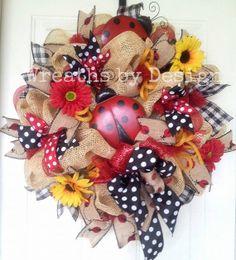 Lady Bug Summer Burlap Wreath by WreathsbyDesign1 on Etsy, $85.00