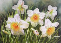Daffodils with ladybug - watercolor flower painting by Doris Joa