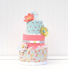 Girl Baby Cake Diaper Cake for Baby Girl Floral Baby Shower by Baby Blossom Company Baby Girl Cakes, Baby Girl Gifts, Cake Baby, Baby Shower Balloons, Baby Shower Cakes, Diaper Cake Boy, Diaper Cakes, Baby Bouquet, Diaper Cake Centerpieces