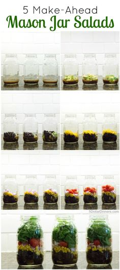 5 Make Ahead Mason Jar Salad Recipes and Tips for Keeping Everything Fresh! | 5DollarDinners.com