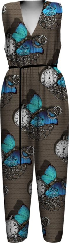 butterflies-gears-chains-cool-steam-punk-themed WOMEN JUMPSUIT PAOM-VFS from Print All Over Me