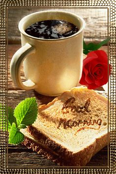 GIF Good morning coffee and toast Good Morning Gift, Good Morning Coffee Gif, Good Morning Flowers, Good Morning Greetings, Morning Coffee Images, Coffee Love, Coffee Break, Good Morning Animation, Good Morning Wallpaper