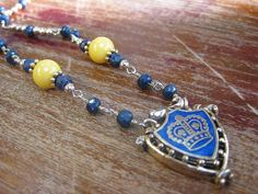 Vintage Jewelry Necklace with Vintage Crown, Sapphire and Yellow Beads