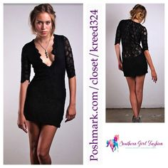 """FREE PEOPLE Lace Dress NIGHTCAP VNeck Bodycon Mini Size XS.  New With Tags $340.  Sheer at sleeves and top back.  *By Nightcap for Free People *89% Polyamide, 8% Elastane, 3% Viscose Nightcap Sizing: 1=XS, 2=S, 3=M, 4=L  Measurements for XS: Length: 34"""" Bust: 28""""   Waist: 28""""   Availability:  Size XS.   ❗️ Please - no trades, PP, holds, or Modeling.   ✔️ Reasonable offers considered when submitted using the blue """"offer"""" button.    Bundle 2+ items for a 20% discount!    Stop by my closet for…"""