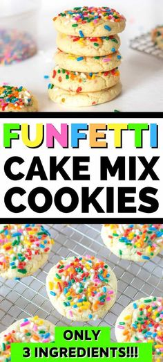 Soft and chewy funfetti cake mix cookies are easy to make using just 3 ingredients. They are the perfect dessert for birthdays, parties, holidays, and more! Funfetti Cake Mix Cookies, Yummy Cookies, Cheesecake Oreo, Cheesecake Recipes, Easy Gluten Free Desserts, Easy Desserts, Food Cakes, Cupcake Cakes, Cupcakes