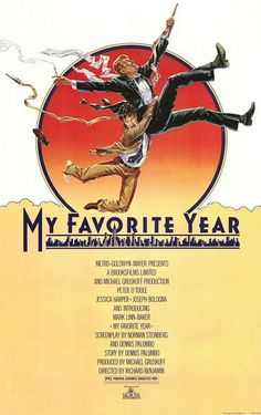 My Favorite Year , starring Peter O'Toole, Mark Linn-Baker, Jessica Harper, Joseph Bologna. A dissolute matinee idol is slated to appear on a live TV variety show. Peter O'toole, Vintage Movies, Vintage Books, My Favorite Year, My Favorite Things, Mixtape, Cameron Mitchell, Drama, Movies