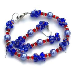 Colorful Millefiori Blue Red Silver Bracelet by ALFAdesigns, $24.99