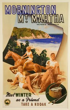 Mornington Peninsula/Mt. Martha, Victoria, Australia vintage travel poster by James Northfield