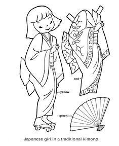 Japanese Paper Doll Template | Sobre todo para los más pekes, jeje!