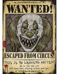 Wanted Clown Poster - Decorations Halloween Clown, Halloween 2018, Gruseliger Clown, Clown Party, Halloween Karneval, Halloween Poster, Creepy Clown, Halloween Haunted Houses, Halloween Havoc