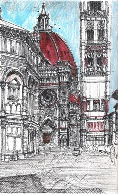 church drawing from the architecture sketch blog H MY GOD this is super weird, I've been here too! This is Florence Italy!