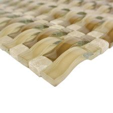 """Wave 0.63"""" x 2.5"""" Glass Mosaic Tile in Sabbia"""