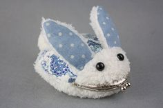 Fuzzy Rabbit Purse with Metal Frame Cotton and Fuzz by CottonTimes, $28.90