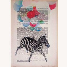 Flying zebra. Illustration by Coco de Paris