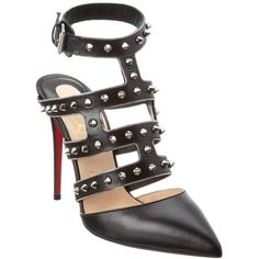 Christian Louboutin Christian Louboutin Tchicaboum Kid 100mm Leather... ($960) ❤ liked on Polyvore featuring shoes, pumps, black, studded pumps, black ankle strap pumps, christian louboutin shoes, leather shoes and leather pumps