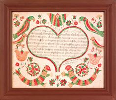 Sold  For   6,435  I.T.W. Artist(Berks County, Pennsylvania, watercolor and ink on paper fraktur birth certificate for Jacob Adams 1805, with a central heart enclosing script surrounded by mermaids, parrots, tulips, and flowers in shades of green, yellow, and red, 13 x 16. For a similar example, see Shelley Illuminated Manuscripts, plate 215 and Earnest, Paper for Birth Dayes, pg. 785.