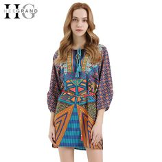 HEE GRAND Vestidos Women Full Sleeve O-Neck Bow Spring Summer Bohemian Style Retro Loose Print Sexy Dress Without Belt LQL3674