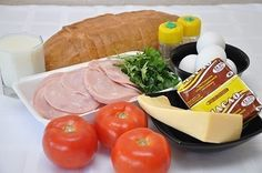 Torta salata con pane, prosciutto e formaggio