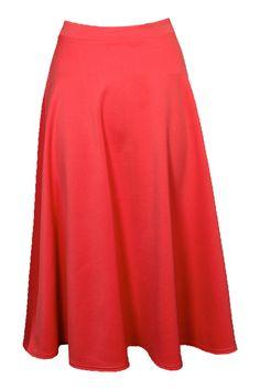 Arianna Plain Full Circle Midi Skirt at boohoo.com