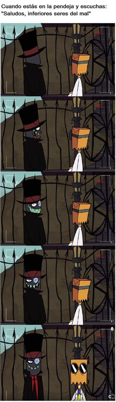 """I'm laughing because I'm super into Villainous so when I see a pic that has subtitles I translate them to English and this translates to """"When you're in the asshole and you listen """"Greetings, inferior beings of evil"""""""" it must mean when you're in the bathroom XD"""