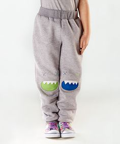 Mélange Gray Monster Knee-Patch Pants - Toddler & Kids