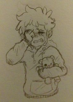 """alaskan-cat: """"""""David, am I a burden?"""" Hi I want this child to be happy all the time but I also spent all day reading angsty Foster/Dadvid au stories and needed to draw something to it so here's a sad. Sad Drawings, Anime Drawings Sketches, Cute Sketches, Cool Art Drawings, Anime Sketch, Cartoon Drawings, Arte Sketchbook, Cartoon Art Styles, Art Reference Poses"""